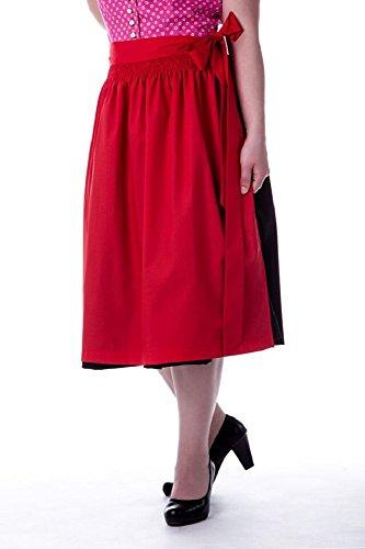 trachtige Dirndlschürze pink ,grün oder rot Baumwolle Trachtenschürze, 69 cm, Midi Schürze, Trachtenmode für Damen,Evi (one Size, Rot-)