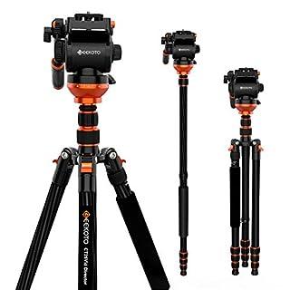 Video Tripod, Geekoto Camera Tripod with Fluid Head, Lightweight Carbon Fiber Tripod 79 inches for Nikon Canon Sony DSLR Camera Camcorder, Max Loading 17 LB