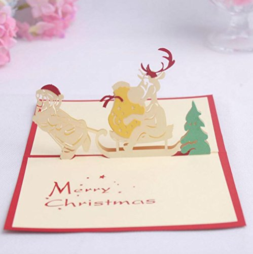 3D pop-up Merry Christmas Christmas Sleigh Greeting Cards Wedding & Baby Shower Greeting Card (96) by Cute rabbit
