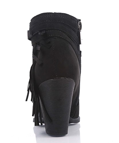 Booties Ankle Suede Sexy Zipper High Cuban Boots Fringe D Side Womens Black Heels Faux cor 5qwtvvU