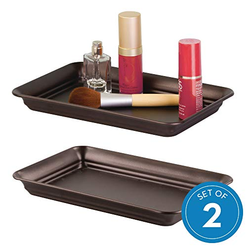 InterDesign Countertop Guest Towel Tray, Bathroom Vanity Organizer - Set of 2 Bronze