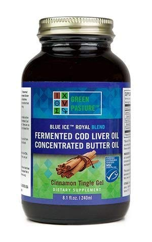Blend Blue (Green Pasture Blue Ice Royal Butter Oil / Fermented Cod Liver Oil Blend - CINNAMON GEL - 8.1 fl.oz)