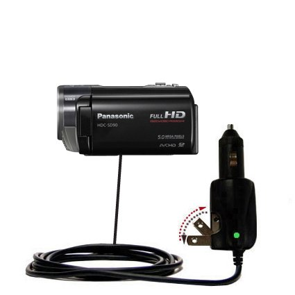 Intelligent Dual Purpose DC Vehicle and AC Home Wall Charger suitable for the Panasonic HDC-SD90 Camcorder - Two critical functions, one unique charger - Uses Gomadic Brand TipExchange Technology