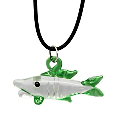 Small Green Shark Glass Jewelery Necklace with Black Rope