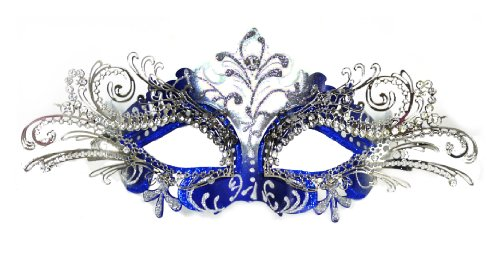 Venetian Blue Mask w/ Silver Metal Laser-cut and Crystals on Eyes