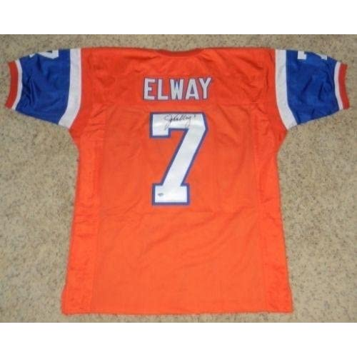 new style 5df7f 3023c John Elway Autographed Jersey - #7 Orange 75th Throwback Coa ...