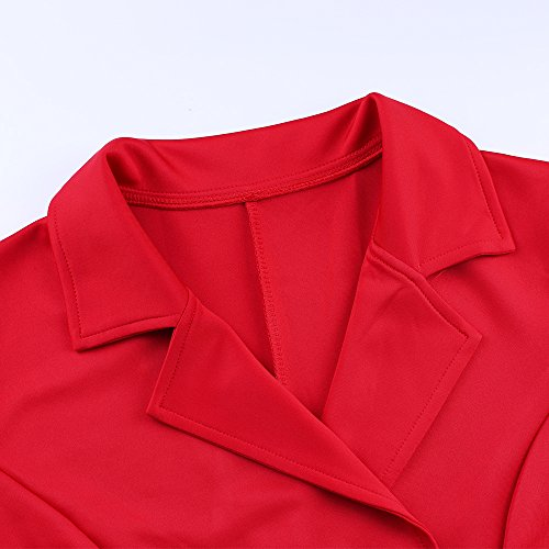 A Skater Neck Vintage V Lapel XAKALAKA Women's Breasted Red Dress Line Double wqFA0ZgT