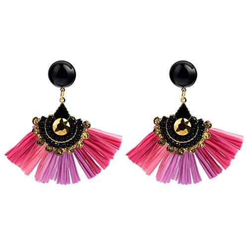 New Female Earrings Tassel Earrings Crystal Lafite Long Statement Drop Earring for Women Fashion Jewelry Rose red Pink Purple ()