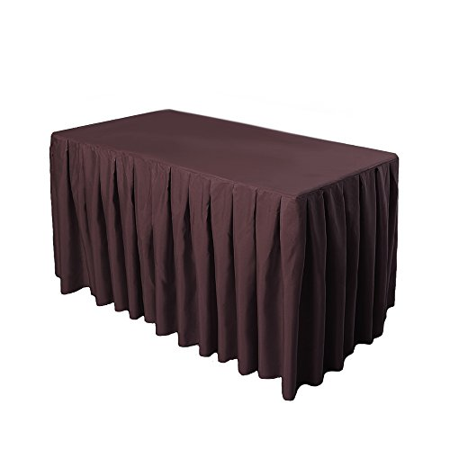 Brown Economy Folding Table (Doolova 6FT CHOCOLATE Wholesale Polyester Table Skirt For Wedding Banquet Restaurant)