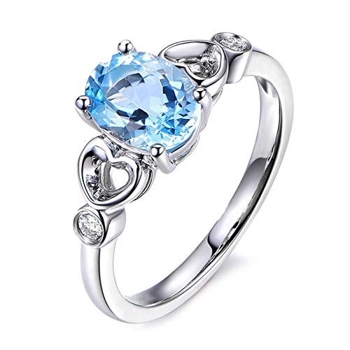 KnSam Sterling Silver Jewelry Ring for Women Fashion Oval Cut Topaz 10x8MM Size 6