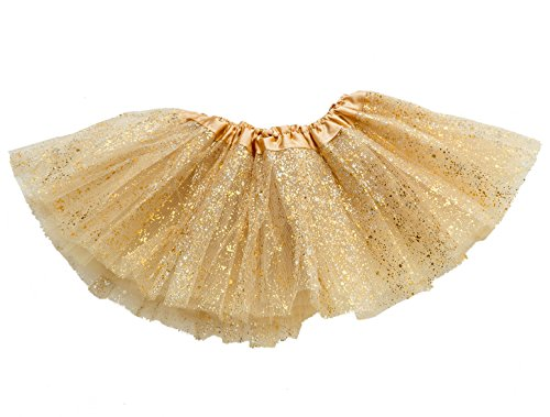 GOODTECK Newborn Infant Baby Professional 3 Layers Sequin Tutu Tulle Skirt (6-18month, Gold)