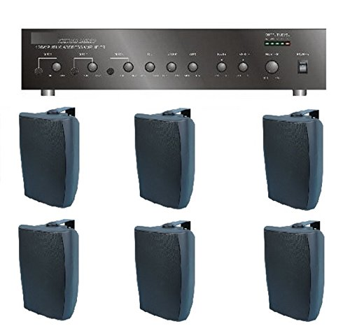 Store/Salon/Restaurant Business Background Music Sound System- Amp, 6 Surface Speakers +