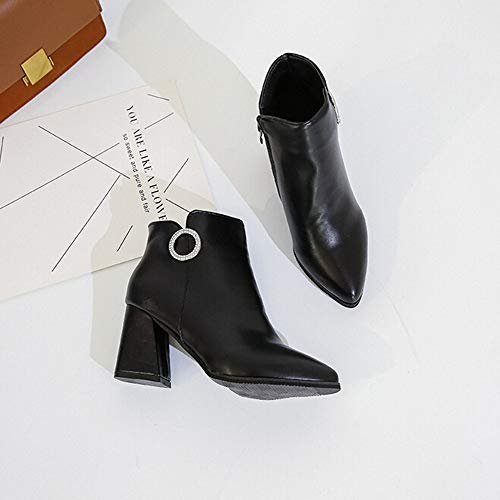 Cuir Hauts Noir Dames De Kobay Chaussures Bottes Carre Latrale Talons En Bootie Femmes Glissire La Mode Chaussures gaqwqx6Fzn