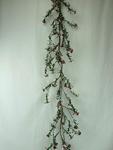 JMB Christmas Red Berry & Holly Leaves Wreath/Candle Ring Garland (60