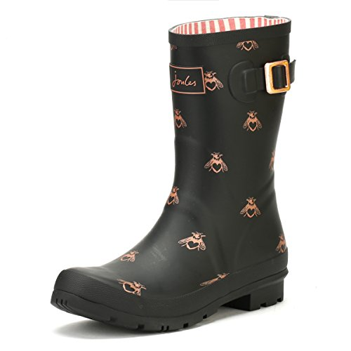 Joules Women's Molly Welly Rain Boot Black Gold Bees