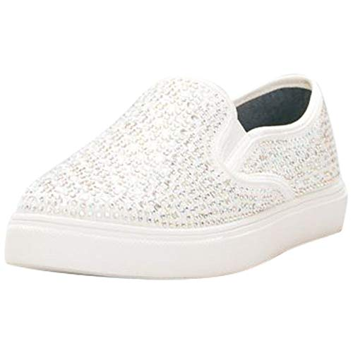 David's Bridal Crystal-Studded Slip-On Sneakers Style Cruz, White, -