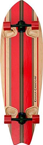 Kahuna Creations Longboard Skateboard (Kahuna Creations Shaka Surf Natural / Red Complete Longboard Skateboard - 13.7 x 46