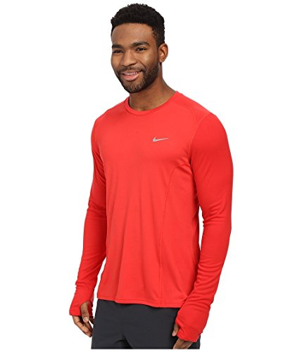 Nike Df Miler Ss - Camiseta para hombre Rojo / Plateado (University Red/Reflective Silv)