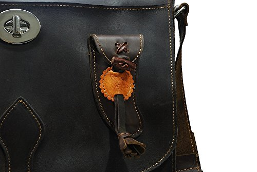 Umhängetasche für Falknerei Marke bonake handgefertigt in Spanien Leder Kalb-geölt mit Lederbeschichtung