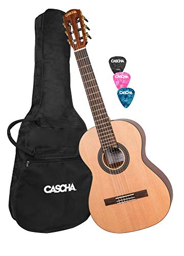 CASCHA Children's Classical Guitar 3/4 Size, including Gigbag and 3 Picks, Classic Guitar for Kids, Age 8-12 years, Acoustic Guitar for Beginners, Nylon ()