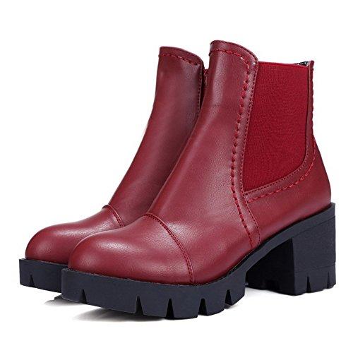 Boots Zipper Kitten Closed Allhqfashion top Heels Low Claret Women's Toe Round Solid wxagvOIxq