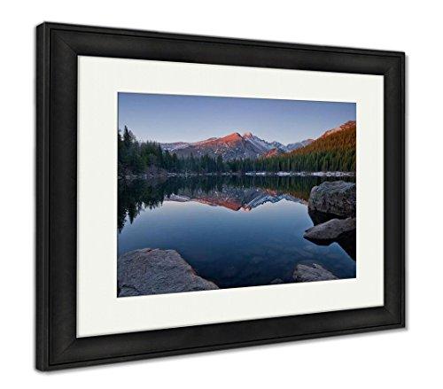 Ashley Framed Prints Longs Peak Reflects Still Waters Bear Lake Rocky Mountain, Wall Art Home Decoration, Color, 30x35 (Frame Size), Black Frame, AG5646823 ()