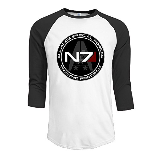 IYaYa Mass Effect N7 Men's 3/4 Sleeve Raglan Baseball Shirt Black