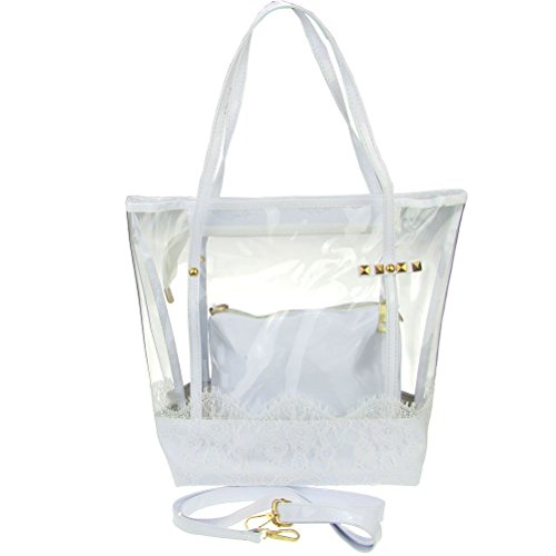 PVC Bag Clear Women Shoulder Jelly Tote White Lace in Handbag Bag Bag Donalworld XnxYf6f