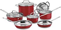 Cuisinart Chef's Classic Red Stainless Steel 11 Piece Cookware Set