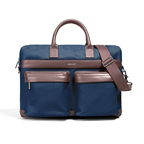 Albert Bag - Navy Canvas with Brown Leather Accents Computer Bag by Hook & Albert