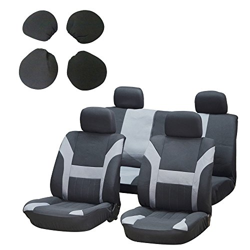 Car Seat Cover,Stretchy Universal Seat Cushion w/Headrest 100% Breathable Automotive Accessories with Durable Washable Polyester for Most Cars Trucks Vans(Black/Gray)