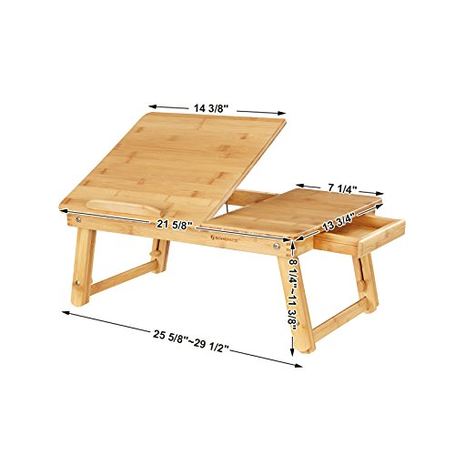 SONGMICS Laptop Desk for Bed Sofa with Adjustable Tilting Top, Breakfast Serving Tray with Folding Legs ,Multi Function Table, Floor Desk, 100% Bamboo Nature ULLD01N