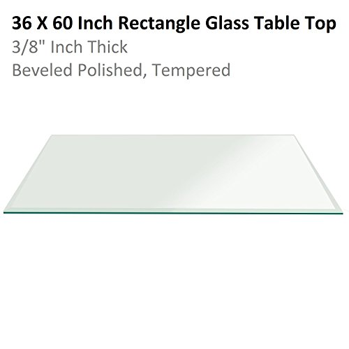 Fab Glass & Mirror Rectangle Glass 3/8'' Thick Bevel Tempered Radius Corners, 36'' L x 60'' W by Fab Glass and Mirror
