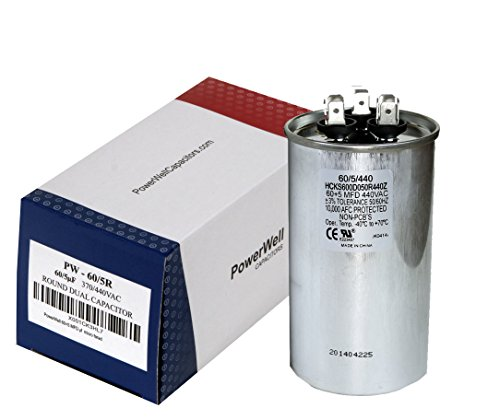 60+5 MFD uf Micro Farad 370 Or 440 Volt Dual Run Round Capacitor PW-60/5/370-440R for Condenser Straight Cool Or Heat Pump Air Conditioner - Guaranteed to Last 5 Years by PowerWell
