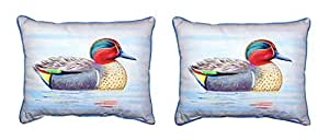 Pair of Betsy Drake Green Wing Teal Duck Outdoor Pillows 16 Inch x 20 Inch