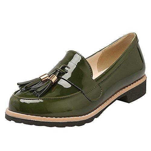Fascino Scarpe Da Donna Vintage Stile Nappe Tacco Basso Scarpe Casual Fannullone Verde
