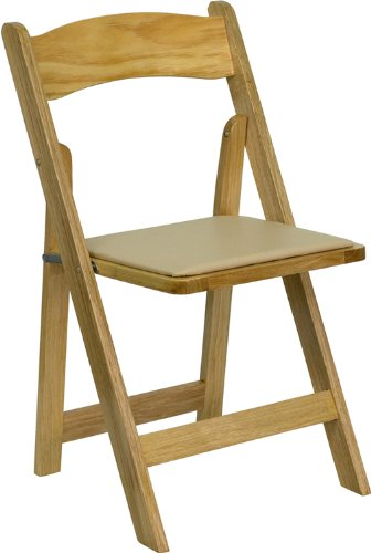 Flash Furniture HERCULES Series Natural Wood Folding Chair with Vinyl Padded (Natural Wood Folding Chair)
