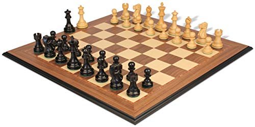 Deluxe Old Club Staunton Chess Set Ebony & Boxwood Pieces with Walnut Molded Edge Chess Board - 3.75