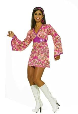 Forum 60S Revolution Go-Go Flower Power Dress, Pink/Yellow, X-S/S Costume