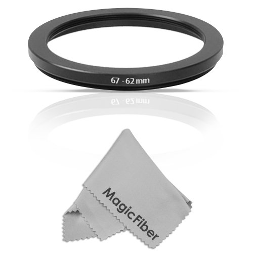 Goja 67-62MM Step-Down Adapter Ring (67MM Lens to 62MM Accessory) + Premium MagicFiber Microfiber Cleaning Cloth