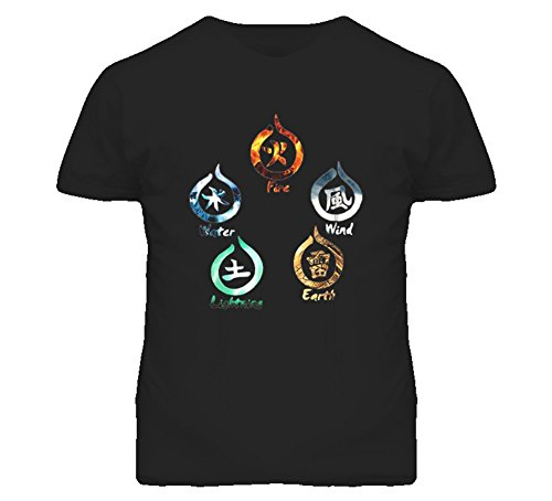 5 Elements Fire Water Earth Wind Lightning T Shirt