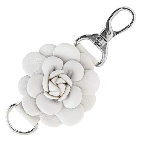 (Genuine Leather Handmade Rose Charms | Pom Pom Keychain | for Tassel Bags Purse Backpack (Rose,)