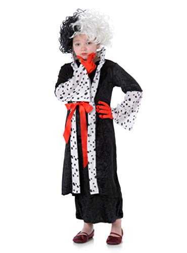 Kids Madam Evil Lady Halloween Costume, Dalmatian Spots Outfit, Gloves, Wig, M -