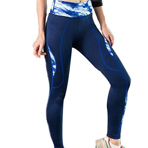 Entrenamiento De Reproducción De La Yoga De Las Mujeres Legging Los Pantalones Apretados Noveno Blue