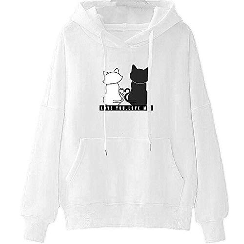 POQOQ Tops Womens Fashion Long Sleeve Hoodie Sweatshirt Casual Hooded S White