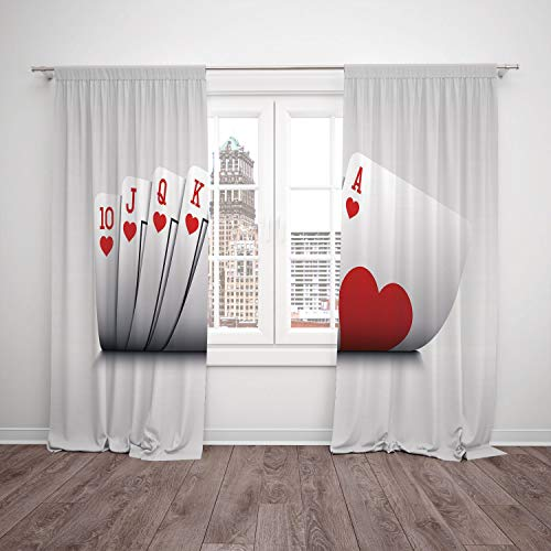 2 Panel Set Window Drapes Kitchen Curtains,Poker Tournament Decorations Royal Flush Playing Cards Hearts Betting Bluff Gambling Decorative Red and White,for Bedroom Living Room Dorm Kitchen Cafe