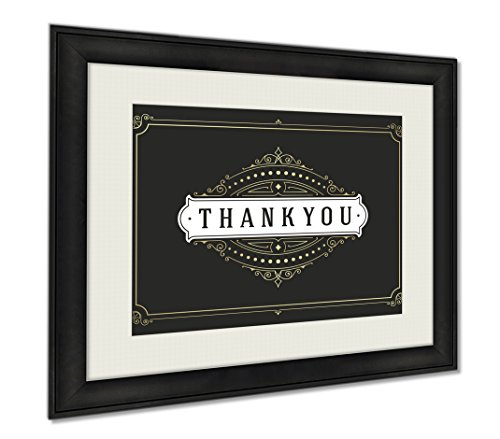Ashley Framed Prints Thank You Typography Message Vintage Greeting Card Design Template, Wall Art Home Decoration, Color, 26x30 (frame size), AG6615385 by Ashley Framed Prints