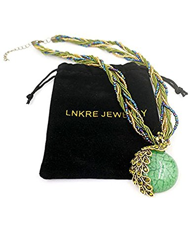 [LNKRE JEWELRY Bohemian Style Cat's Eye Crystal Collar Peacock Necklace Pendant(Green)] (Pizza Delivery Man Costume)