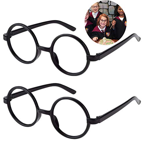 Kids Wizard Glasses Retro Round Glasses Frame No Lenses for Christmas Costume Party Cosplay Supplies for Age 4-12 Black]()