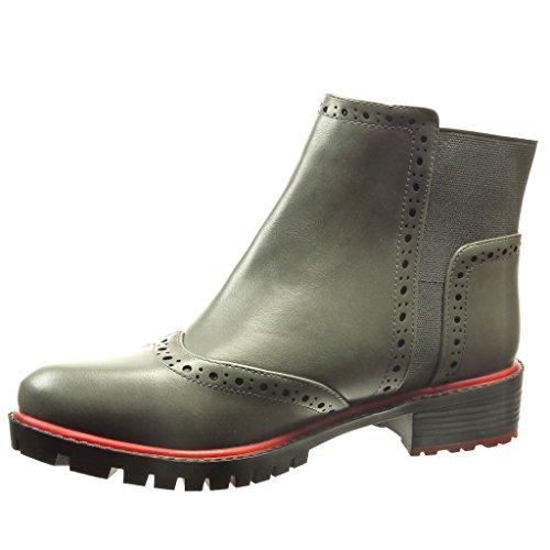 Ancho Botines Derby Moda De Talón Zapato Chelsea Zapatillas Perforado Boots Gris Mujer Angkorly Tacón Cm 3 5 tqSH7wX